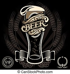 beer menu - vector glass of beer on a black background for...