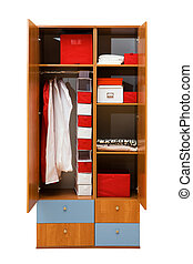 wardrobe with clothes - modern wardrobe with clothes on a...
