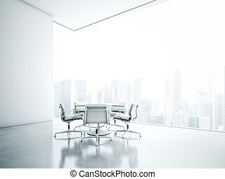 White office interior. 3D rendering - Open plane interior....