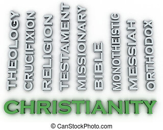 3d image Christianity  issues concept word cloud background