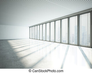 White interior with large windows. 3D rendering - Open space...