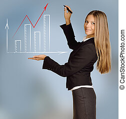 Office woman shows bar chart with red arrow
