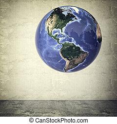 world globe - 3d image of world globe and grunge background