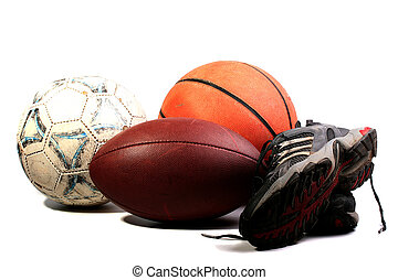 Old balls for game in football, basketball and socker...