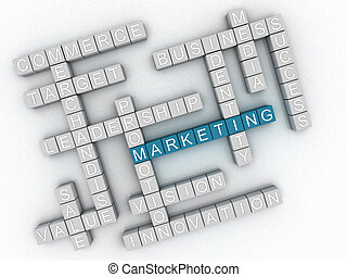 3d image Marketing  issues concept word cloud background