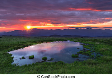 alto, montagne, lago, bellezza