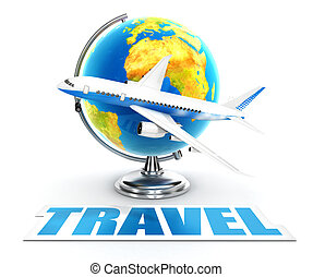 3d travel word concept, isolated white background, 3d image