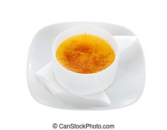 Creme Brulee - Creme brulee special dessert isolated on...