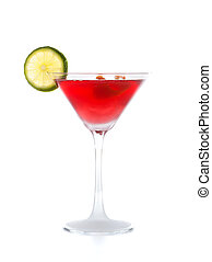 Cosmopolitan cocktail with lime isolated on white.