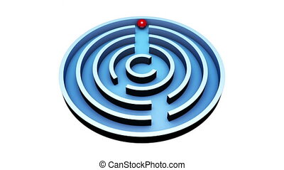 Wisdom (Round Maze) - Red ball into the center of the blue...