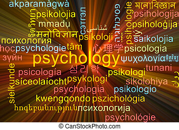 Psychology multilanguage wordcloud background concept glowing
