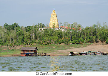 Buddhakaya Chedi, Sangklaburi, kanchanaburi, Thailand. -...
