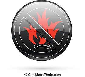 No fire sign - No fire black button sign Vector EPS8...