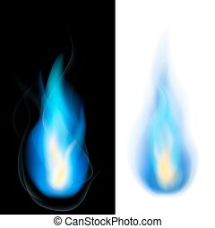 Blue fire - Blue natural gas fire flames on black and white...
