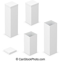 cardboard boxes - Cardboard white boxes with lids Vector...