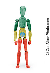 Wood figure mannequin with flag bodypaint - Ethiopia - Wood...