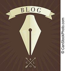 Vector engraved fountain pen icon, blog concept