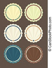 Vector set of round badges in vintage style