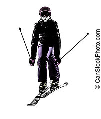 one woman skier skiing jumping silhouette