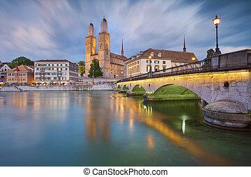 Zurich. - Image of Zurich during dramatic sunset.