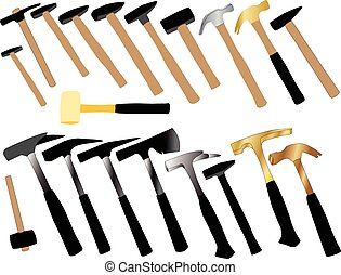 hammers collection - vector - illustration of hammers...