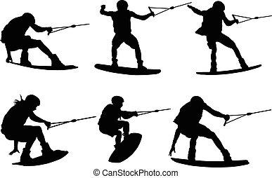 water ski jump - vector - illustration of water ski jump -...