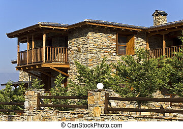 Old stone traditional countryside house at Agkistro, Greece,...