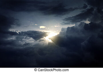 Dramatic Cloudscape Area with the Light in the Centre