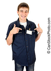 Teenager with a Blank Badge - Happy Teenager with Blank...