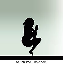 woman silhouette with hand gesture mouth to mouth - Vector...