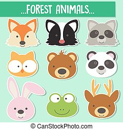 animals face - Set of animal faces,forest animals