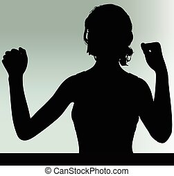 woman silhouette with hand gesture power and might - Vector...