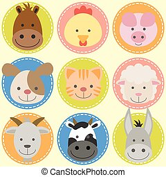 animals face - Set of animal faces,farm animals