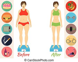 Infographic of fitness and sport, healthy lifestyle, women exists before - after the diet