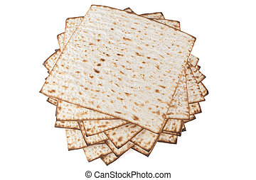 Matzot for Pesach - Matzot for pesach pile isolated on white...