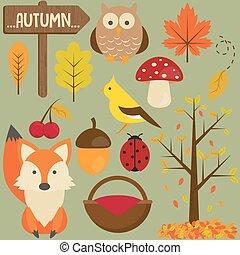 Set of autumn