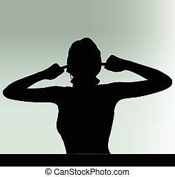woman silhouette with hand gesture turn a deaf ear - Vector...