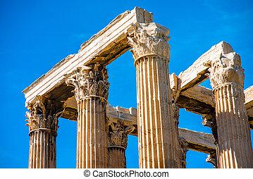 Corinthian, colunas, de, zeus, Templo, em, Grécia,