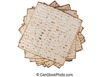 Pesach Matzot - Matzot for pesach pile isolated on white...