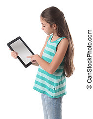 Beautiful pre-teen girl using a tablet computer Clipping...