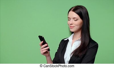 Business woman dialing - Successful businesswoman or...