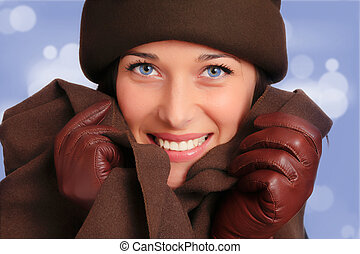 Beautiful woman with winter fashion