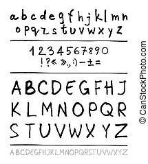 English handwriting alphabet figures vector 10 eps