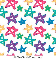 seamless stars pattern in retro color 10 eps