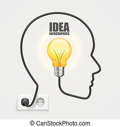 Head with a light bulb from the socket. Vector Illustration