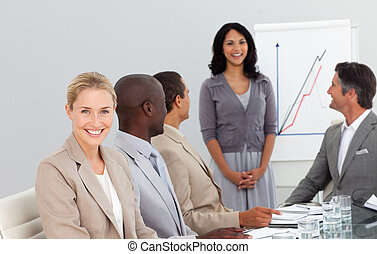 Happy Group of Business People at work brainstorming