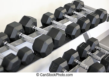 many dumbbells are at stand at the gym. weights
