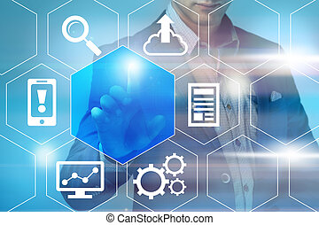 business, technology and internet concept - businessman...