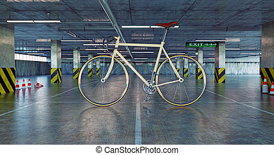 bicycle in parking - giant bicycle in parking. 3d concept