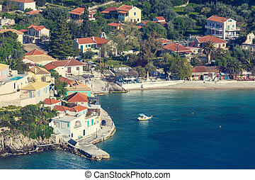 Assos village and beautiful sea bay, Kefalonia island,...